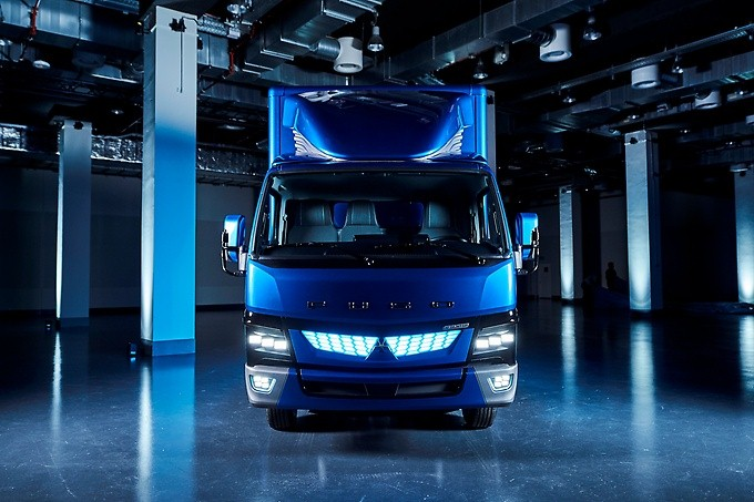 The new Fuso eCanter  E-Pioneer among light trucks